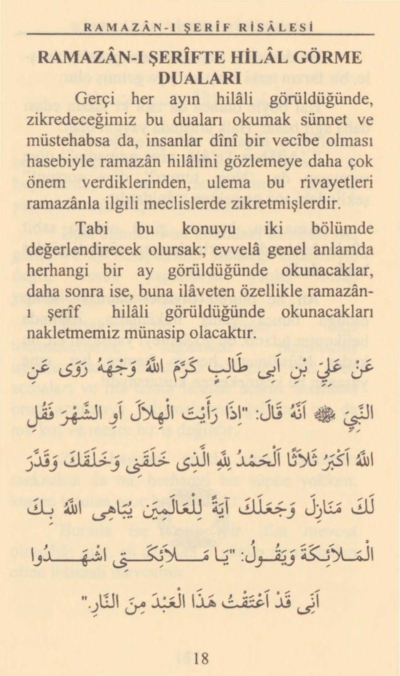 Ramazan Hilalini Görünce Okunacak Dualar / Ramazan-ı Şerif Risalesi