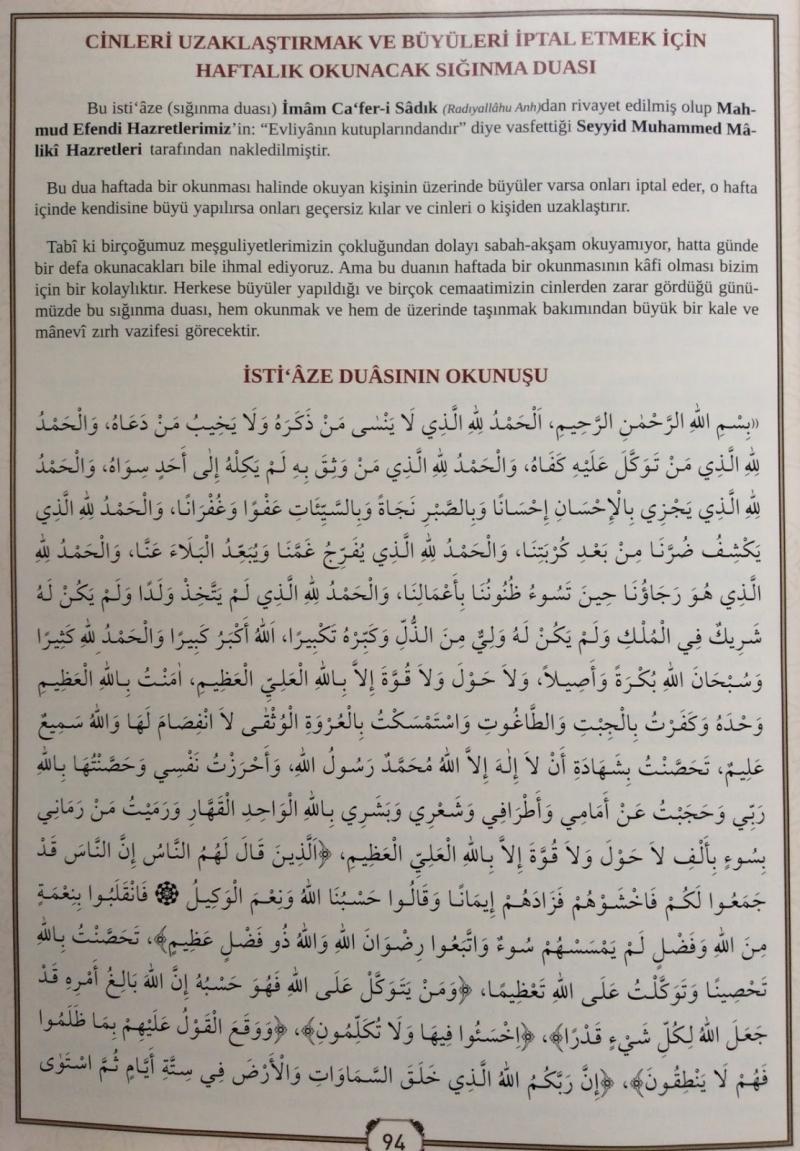Cinlerden ve Şeytanlardan Korunmak İçin Haftada Bir Okunacak Dua
